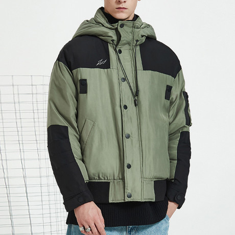 Unstoppable Force Hooded Down Jacket // Green (S)