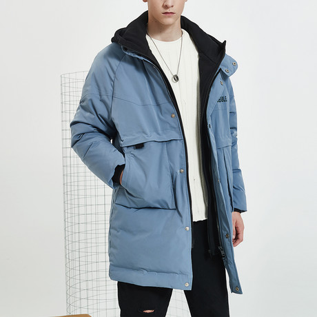 Agreeable Long Down Jacket // Blue (S)
