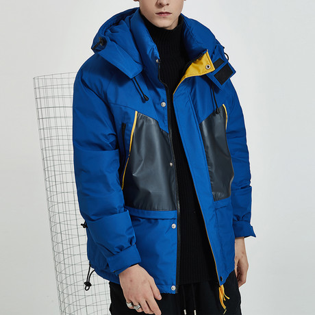 Contemporary Hooded Down Jacket // Blue (S)
