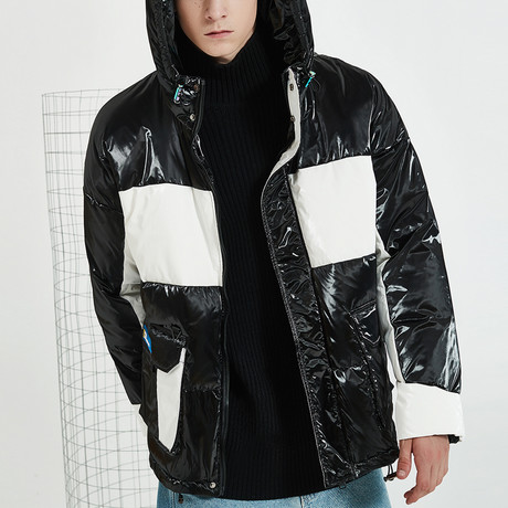 Double Trouble Hooded Down Jacket // Black (S)
