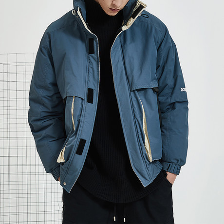 Basic High Collar Down Jacket // Navy (S)