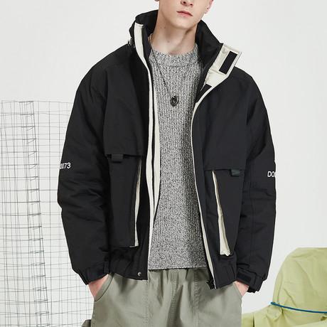 Basic High Collar Down Jacket // Black (S)