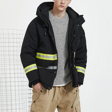 Hi Vis Inspired Hooded Down Jacket // Black (S)