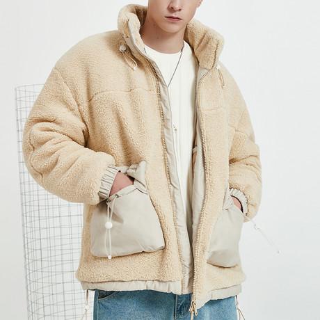 Fleece High Neck Collar Jacket // Apricot (S)