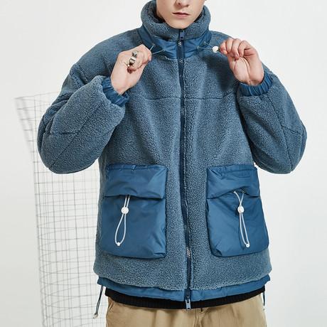 Fleece High Neck Collar Jacket // Blue (S)