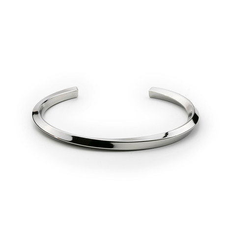 Stainless Steel Minimal Bangle // Silver Tone