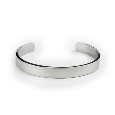 Stainless Steel Wide Bangle // Silver Tone