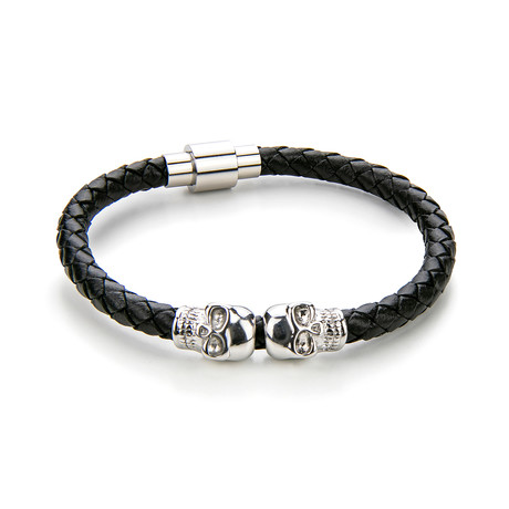 Leather + Skull Bracelet // Black + Silver