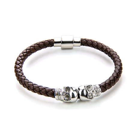 Leather + Skull Bracelet // Brown + Silver