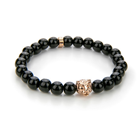 Onyx + Lion Motif Bracelet // Black + Rose Gold