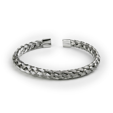 Stainless Steel Braided Bangle // Silver Tone