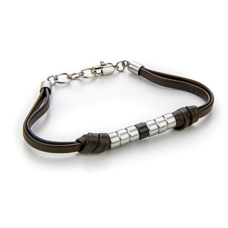 Leather + Beads Bracelet // Brown + Silver
