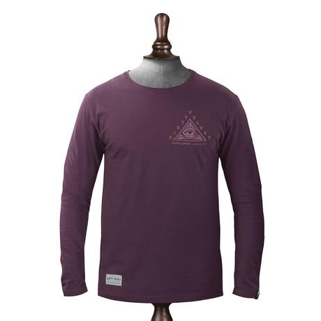 Pyramid Long Sleeve T-shirt // Burgundy (XS)