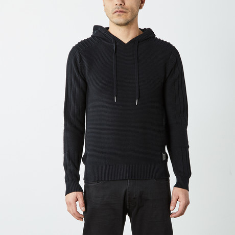 Ribbed Pullover Hooded Sweater // Black (S)