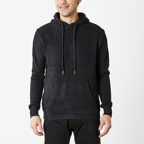 Hooded Knit Pullover With Accent // Black (S)