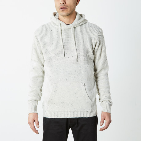 Hooded Knit Pullover With Accent // White (S)