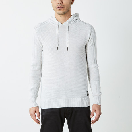 Ribbed Pullover Hooded Sweater // Off White (S)