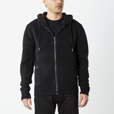 Ribbed Full Zip Hooded Sweater // Black (S)