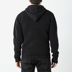 Ribbed Full Zip Hooded Sweater // Black (M)