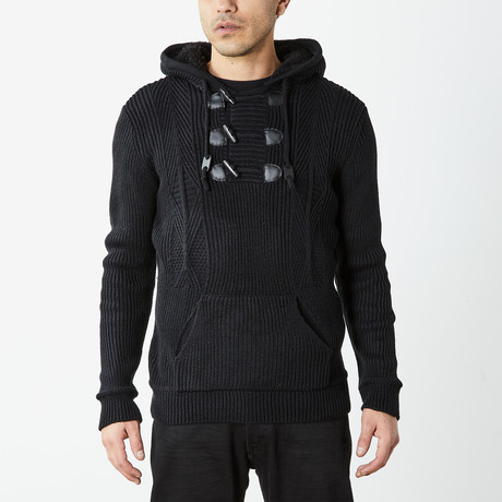Pullover Sweater With Toggle Detail + Sherpa Lined Hoodie // Black (S)