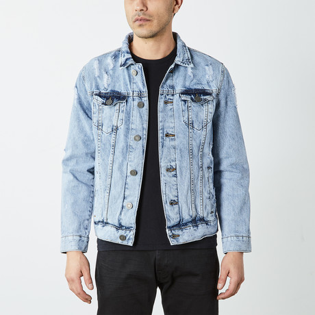 Distressed Ripped Denim Trucker Jacket // Acid Blue (S)