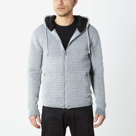 Ribbed Full Zip Hooded Sweater // Grey (S)