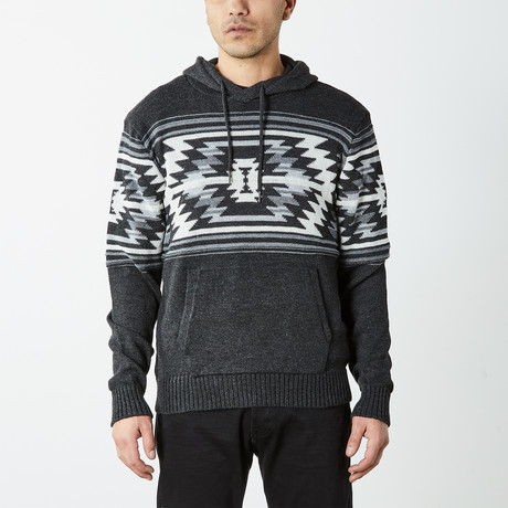 Aztec Hooded Pullover Sweater // Black (S)