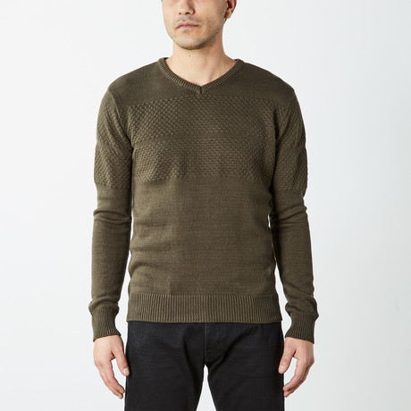 Textured V-Neck Sweater // Olive (S)
