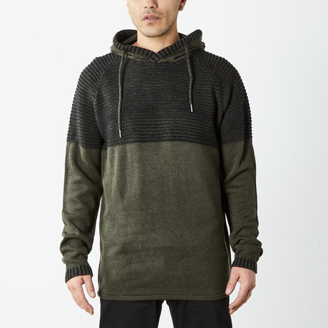 Two Toned Hooded Sweater // Olive (S)