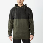 Two Toned Hooded Sweater // Olive (XL)