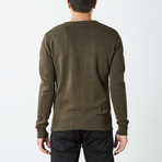 Textured V-Neck Sweater // Olive (3XL)
