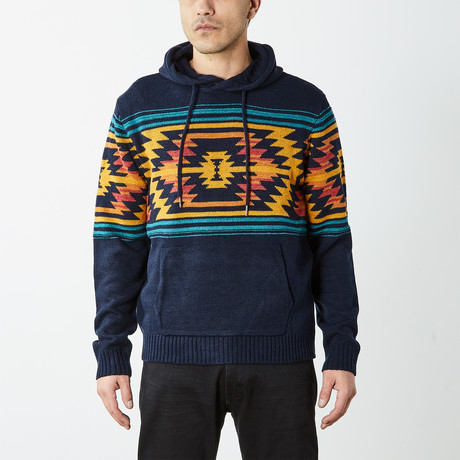 Aztec Hooded Pullover Sweater // Blue (S)