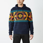 Aztec Hooded Pullover Sweater // Blue (L)