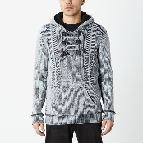 Pullover Sweater With Toggle Detail + Sherpa Lined Hoodie // Heather Grey (S)