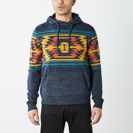 Aztec Hooded Pullover Sweater // Navy (S)