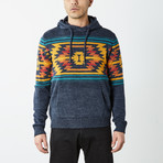 Aztec Hooded Pullover Sweater // Navy (M)