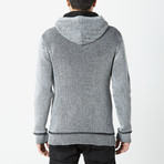 Pullover Sweater With Toggle Detail + Sherpa Lined Hoodie // Heather Grey (M)