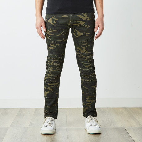 Destructed Twill Pants // Olive Camo (30WX30L)