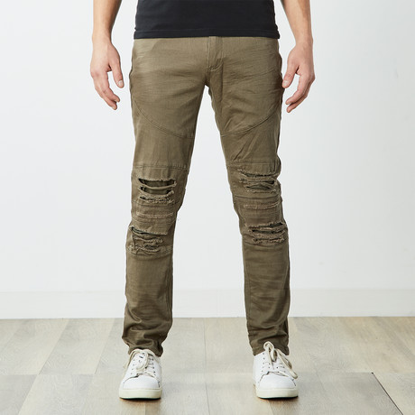 Destructed Twill Pants // Olive (30WX30L)