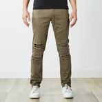 Destructed Twill Pants // Olive (30WX32L)