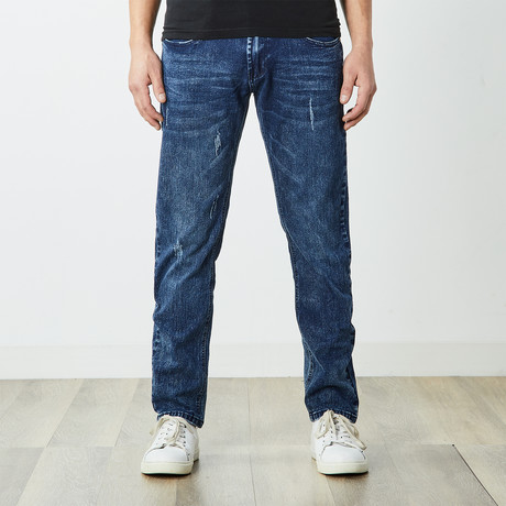 Men's Distressed Dark Wash Jeans // Dark Blue (30WX30L)