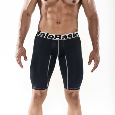 "Base Layer Performance Sport 9"" Boxer Brief // Black (S)"