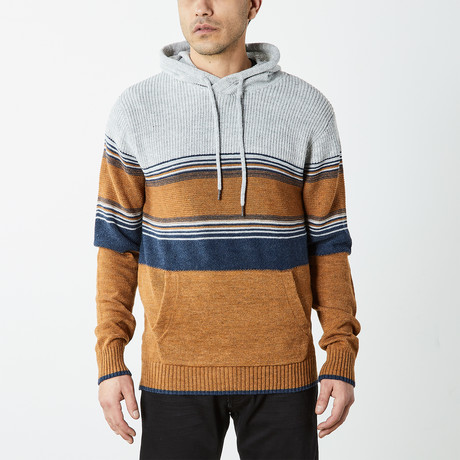 Multi Striped Pullover Hooded Sweater // Multicolor (S)