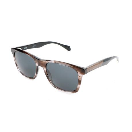 Hugo Boss // Men's 0911 Sunglasses // Striped Brown + Gray