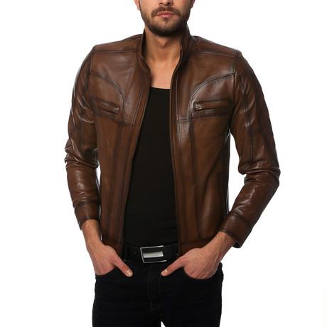 Crane Leather Jacket // Brown (XS)