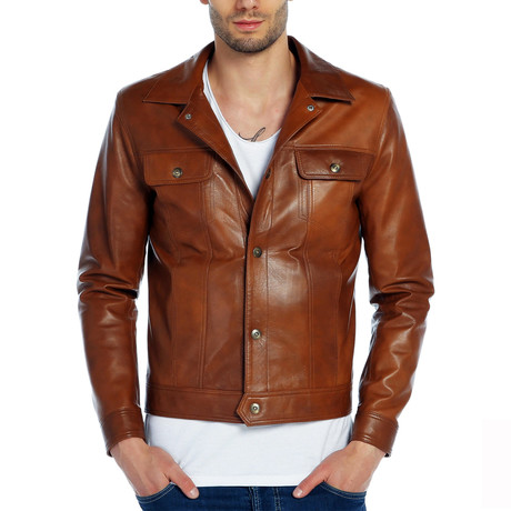 Finch Leather Jacket // Tobacco (XS)