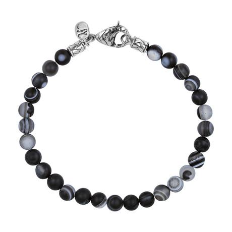 BroManse Silver + Agate Beaded Bracelet