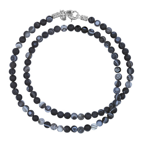 Silver + Agate Beaded Necklace