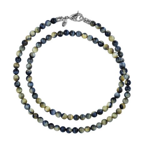 BroManse Silver + Gold Tiger's Eye Beaded Necklace