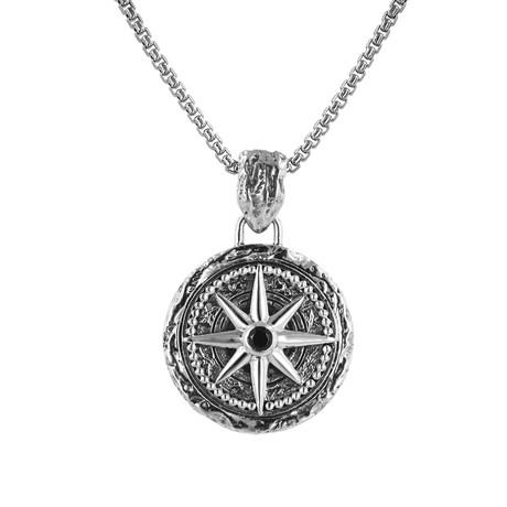 BroManse Silver + Black Spinel Compass Design Necklace